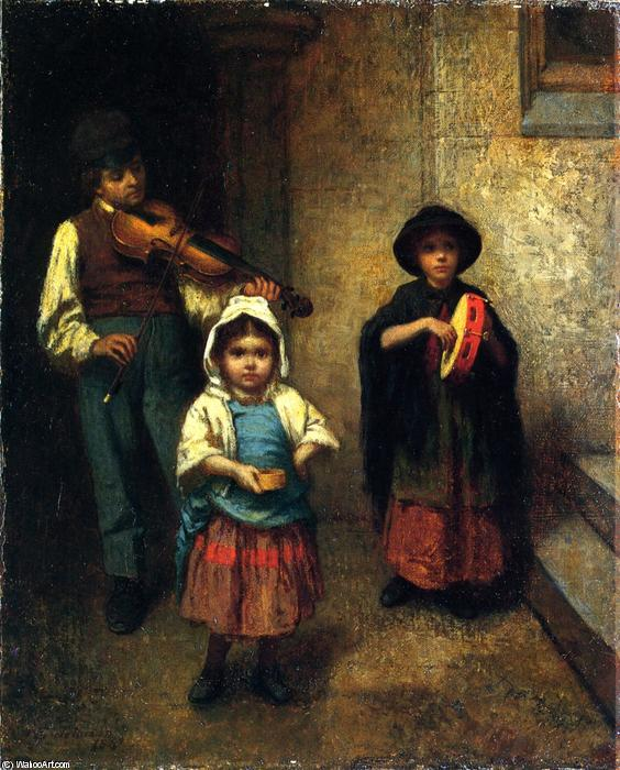 街  音乐家 , 油画 通过 Jonathan Eastman Johnson (1824-1906, United Kingdom)