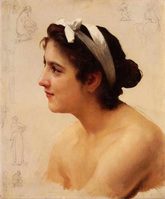 研究  一个女人 通过 William Adolphe Bouguereau (1825-1905, France) | WahooArt.com