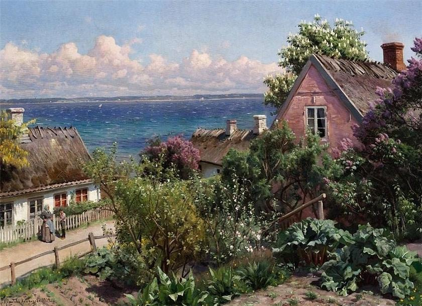 顺序 傑作拷貝 : 夏季的一天Aalsgaarde, 1919 通过 Peder Mork Monsted (1859-1941, Denmark) | WahooArt.com