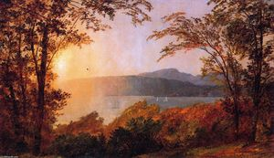 顺序 畫再現 : 日落 , 哈德森  河 ( 也被称为 附近 Hastings-on-Hudson ), 1897 通过 Jasper Francis Cropsey (1823-1900, United States) | WahooArt.com