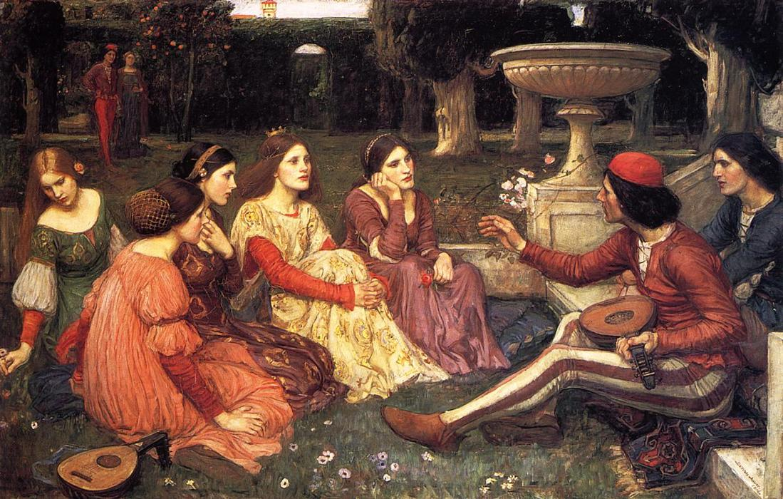 一个 故事  从  的  十日谈 , 1916 通过 John William Waterhouse (1849-1917, Italy) | 手工油畫 John William Waterhouse | WahooArt.com