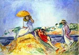 Henri Lebasque -  三 女性 通过  的  大海