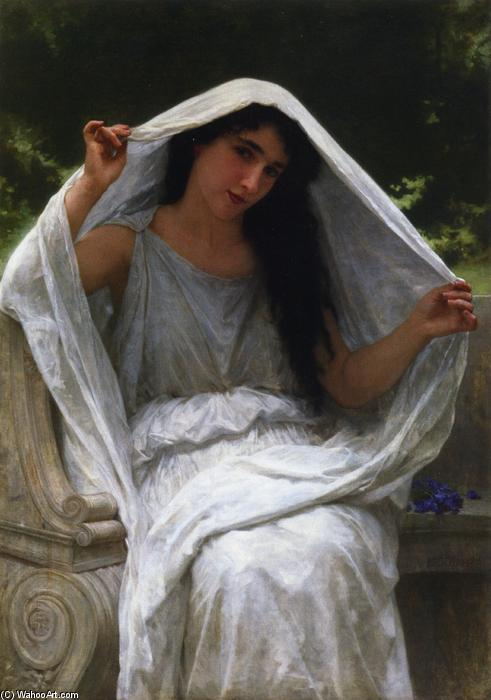面纱, 油画 通过 William Adolphe Bouguereau (1825-1905, France)