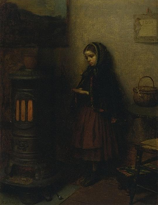 温补她的手, 油画 通过 Jonathan Eastman Johnson (1824-1906, United Kingdom)