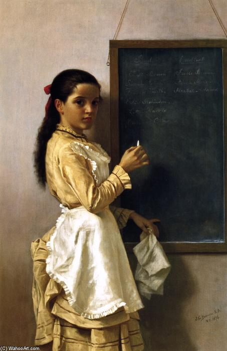 什么是你Namr?, 油画 通过 John George Brown (1831-1913, United Kingdom)