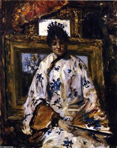 William Merritt Chase - 女人在 中文  长袍