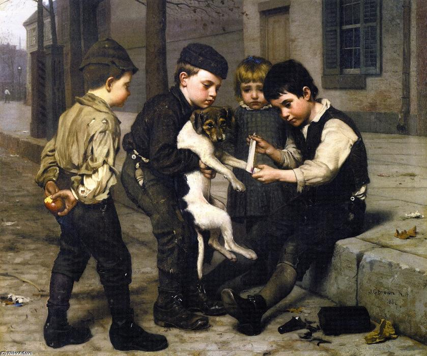 受伤的玩伴, 油画 通过 John George Brown (1831-1913, United Kingdom)