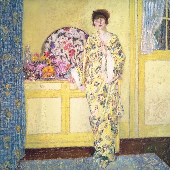 的  黄色  房间, 1913 通过 Frederick Carl Frieseke (1874-1939, United States) | 手工畫 | WahooArt.com