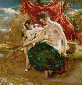William Etty - Love's 钓鱼 ,