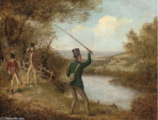 一个 Fly-fisherman 铸件 一个 飞 通过 Samuel John Egbert Jones (1797-1861, United Kingdom) | 幀打印 | WahooArt.com