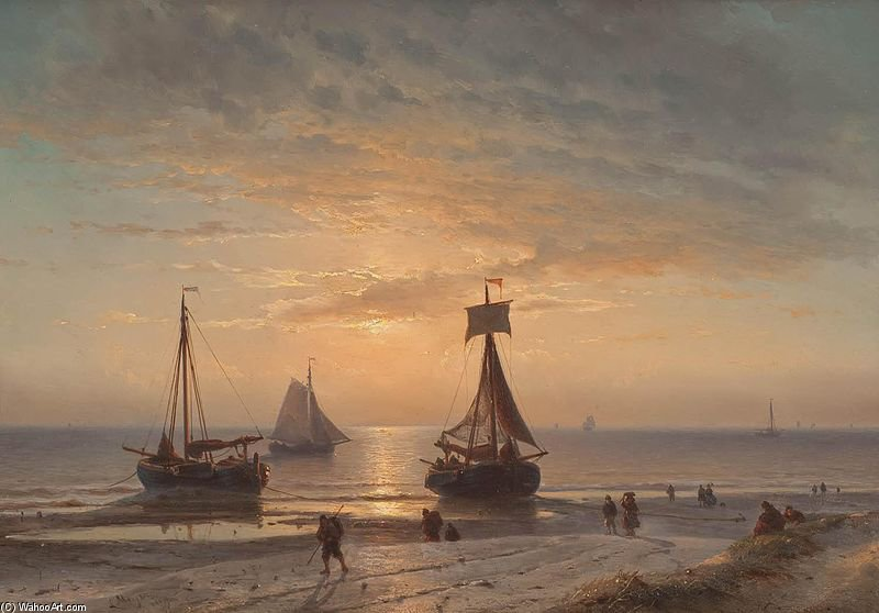 链BIJ Zonsondergang 通过 Louis Meijer (1809-1866, Netherlands)
