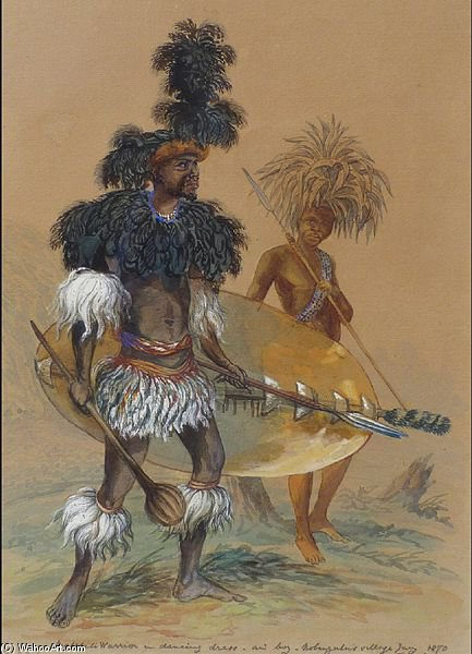 Matebele 战士 在 舞蹈服饰 通过 Thomas Baines (1820-1875, United Kingdom)