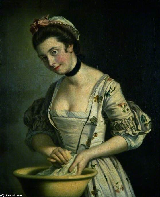 一个 Lady's 女佣 皂洗 亚麻布 - 通过 Henry Robert Morland (1716-1797, United Kingdom)