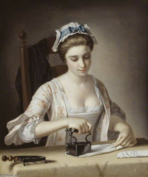 洗衣熨烫女仆 通过 Henry Robert Morland (1716-1797, United Kingdom)