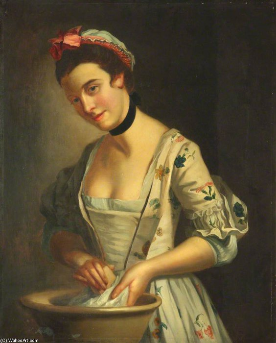 夫人的侍女皂洗亚麻 - 通过 Henry Robert Morland (1716-1797, United Kingdom)