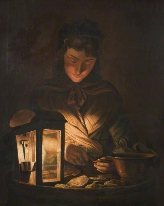 牡蛎 女孩  通过 Henry Robert Morland (1716-1797, United Kingdom)