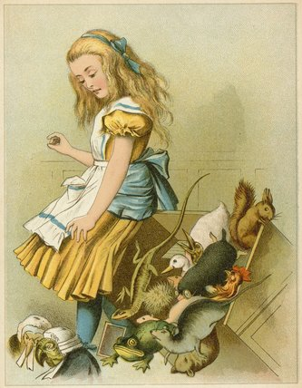她放倒童话盒子从Alice的 通过 John Tenniel (1820-1914, United Kingdom)