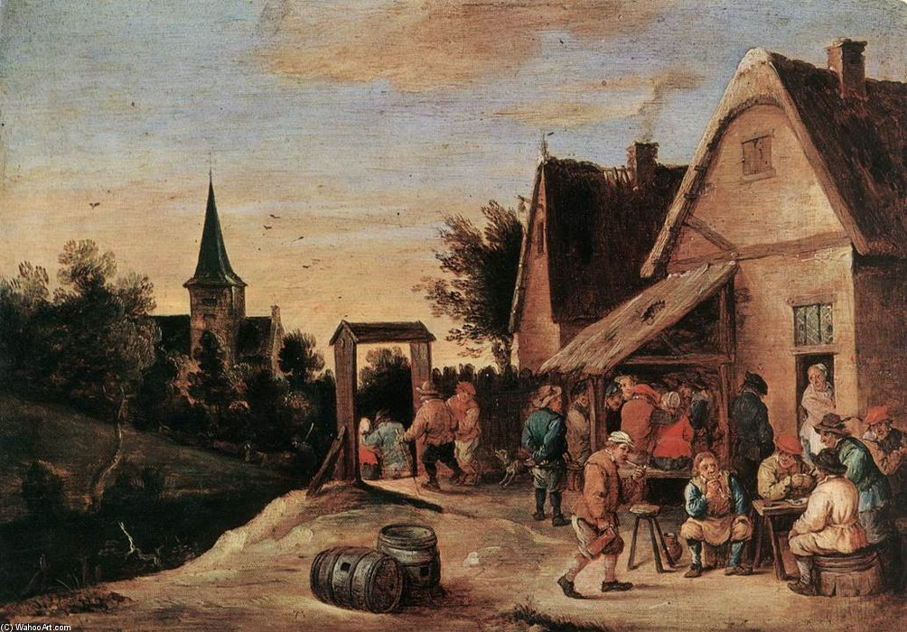 村庄 盛宴  通过 David Teniers The Elder (1582-1649, Belgium) | WahooArt.com