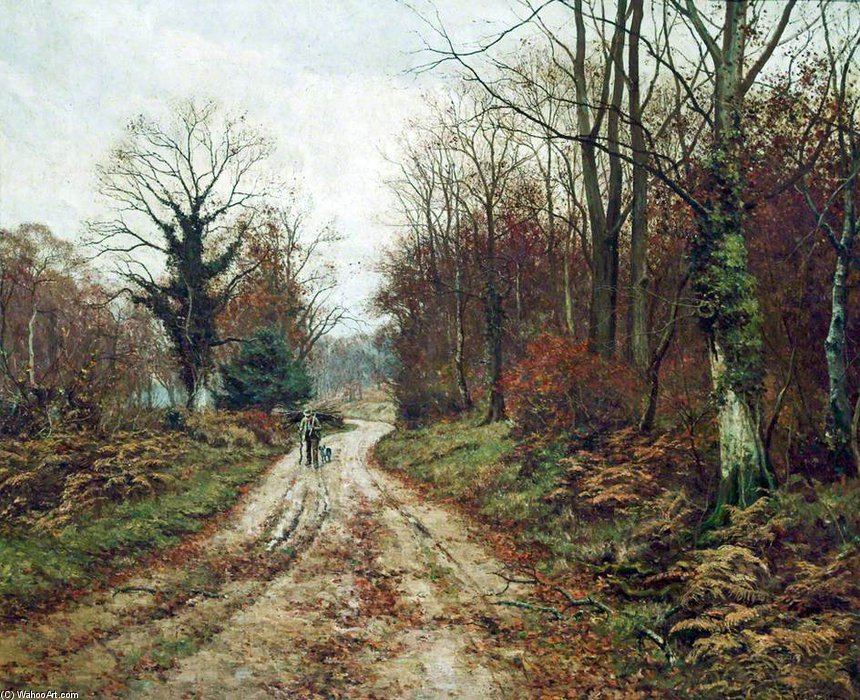 秋天  道路  通过 Edward Wilkins Waite (1854-1924, United Kingdom) | 畫再現 | WahooArt.com