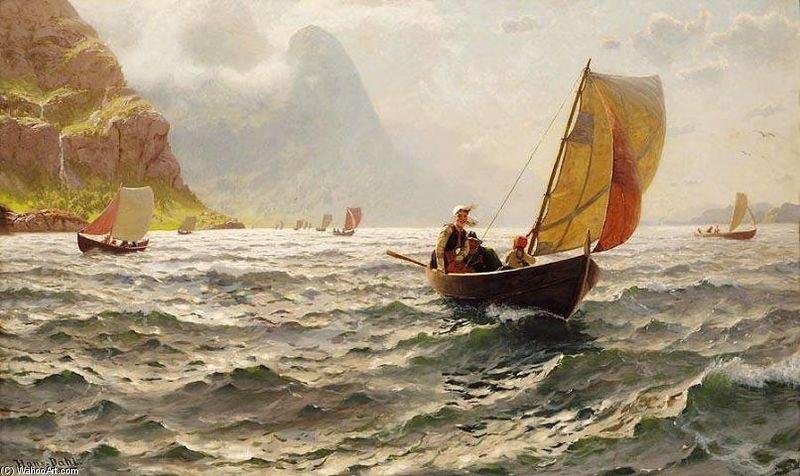 """""""当阳光海浪"""" 通过 hans dahl (1849-1937, norway)"""