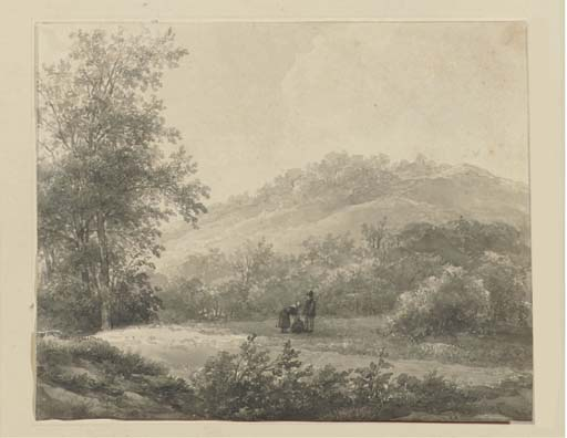 a `hilly` 风景  与 数字 通过 Andreas Schelfhout (1787-1870, Netherlands)