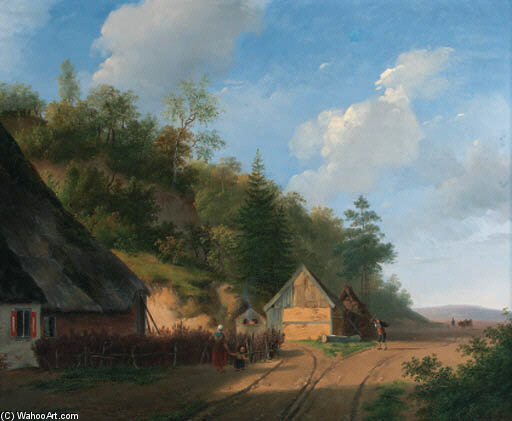 Forester森林人的家;在水磨 通过 Andreas Schelfhout (1787-1870, Netherlands)