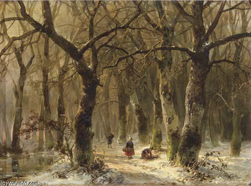 Woodgatherers 上 森林  路径 在 冬天 通过 Andreas Schelfhout (1787-1870, Netherlands) | WahooArt.com