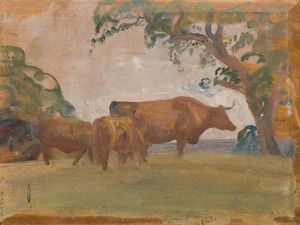 Alfred James Munnings -  研究 牛