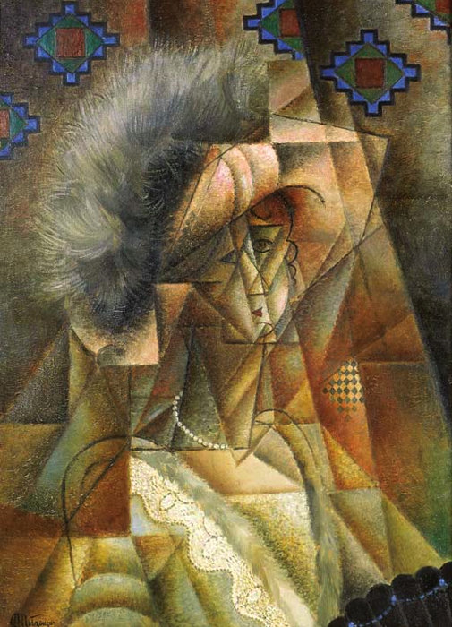 妇女 太子港 帽子 rose等 煤船 德 Perles 通过 Jean Dominique Antony Metzinger (1883-1956, France)