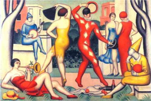 莱斯 Arlequins 通过 Jean Dominique Antony Metzinger (1883-1956, France) | 畫再現 | WahooArt.com