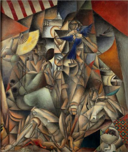 的  蓝色  禽流 通过 Jean Dominique Antony Metzinger (1883-1956, France)