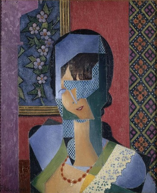 女人 花边  通过 Jean Dominique Antony Metzinger (1883-1956, France)