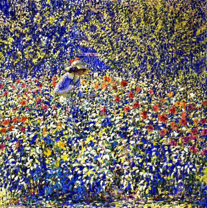 花  花园 通过 Louis Ritman (1889-1963, Russia)