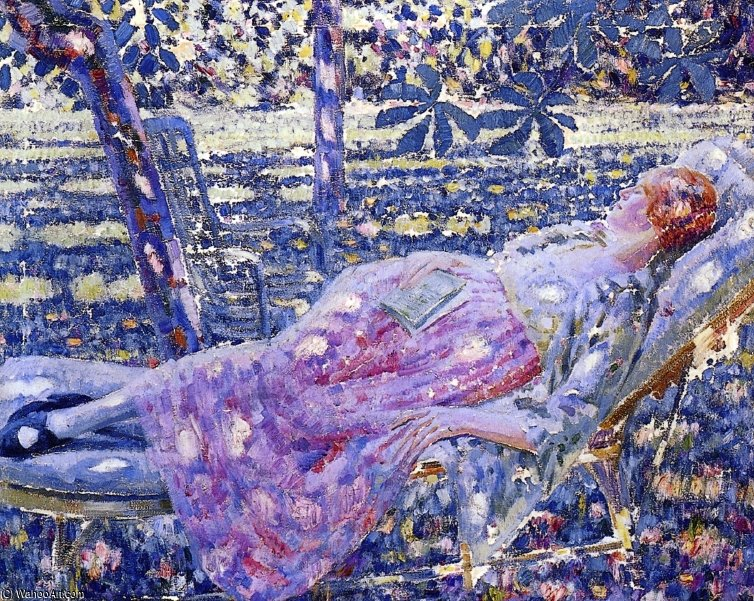 夏日在躺椅 通过 Louis Ritman (1889-1963, Russia)