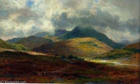 苏格兰的 山  风景  通过 Louis Bosworth Hurt (1856-1929, United Kingdom)