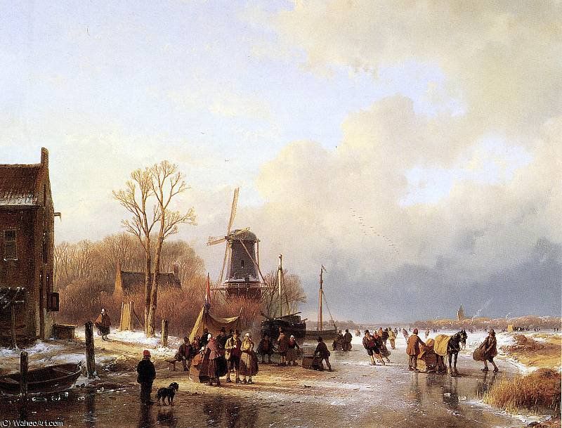 Scaters 与河 磨 阳光 通过 Andreas Schelfhout (1787-1870, Netherlands) | WahooArt.com