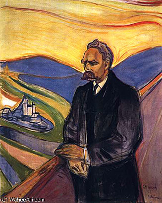 尼采 通过 Edvard Munch (1863-1944, United Kingdoms Of Sweden And Norway)