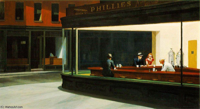 夜鹰, 1942 通过 Edward Hopper (1931-1967, United States) | 手工畫 | WahooArt.com