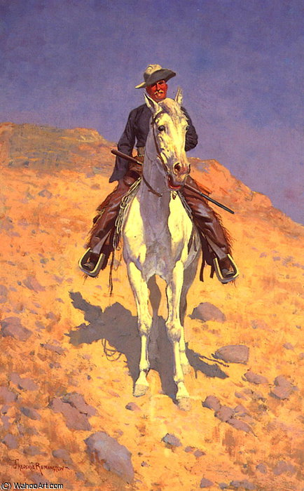自画像 对  一个  马  通过 Frederic Remington (1861-1909, United States)