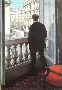 Gustave Caillebotte -  一个年轻的  男子 在  他  窗口