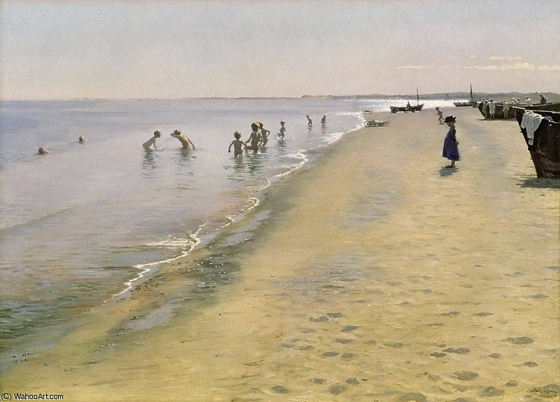 夏天  一天 在  的  南  河岸  的  斯卡恩  通过 Peder Severin Kroyer (1851-1909, Norway)