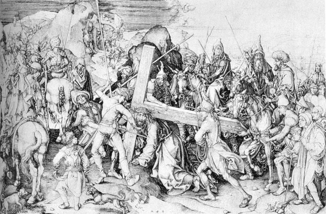 """""""耶稣背着十字架"""" 通过 martin schongauer (1448-1491, germany)"""