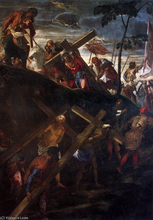 """""""耶稣背着十字架"""" 通过 tintoretto (jacopo comin)"""