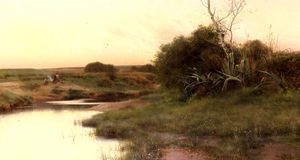 Emilio Sanchez-Perrier - ON_THE_RIVER S_EDGE_AT_DUSK