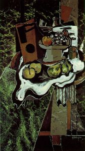 Georges Braque - 水果与fruitdish桌布 , 巴黎p