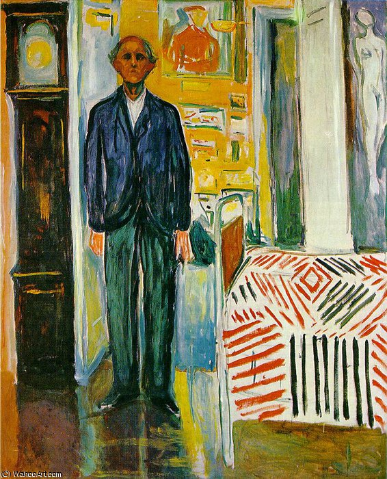 自画像  之间  时钟  和  床  通过 Edvard Munch (1863-1944, United Kingdoms Of Sweden And Norway)