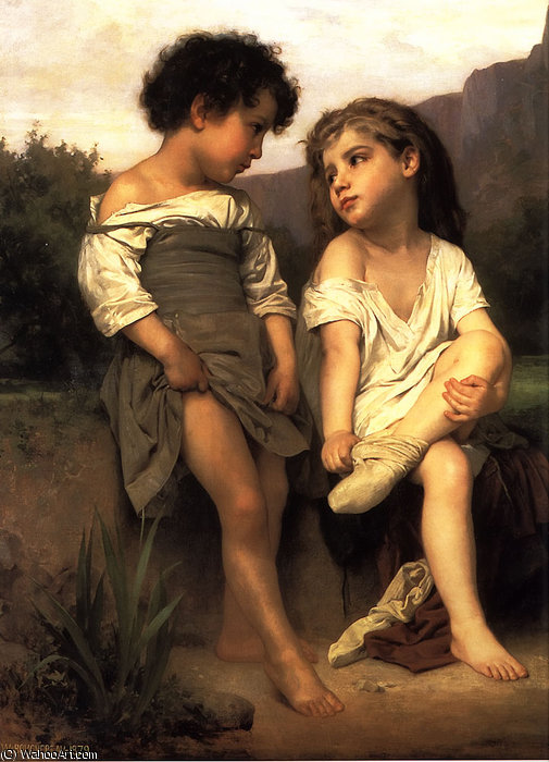 在 边缘  的 `brook` 通过 William Adolphe Bouguereau (1825-1905, France)