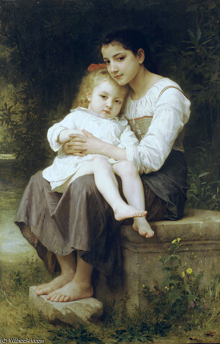 大 妹妹  通过 William Adolphe Bouguereau (1825-1905, France) | 傑作拷貝 | WahooArt.com