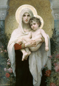 William Adolphe Bouguereau - 麦当娜 的  玫瑰