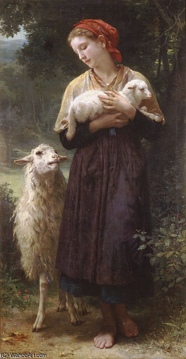 新生儿 羊肉  通过 William Adolphe Bouguereau (1825-1905, France)